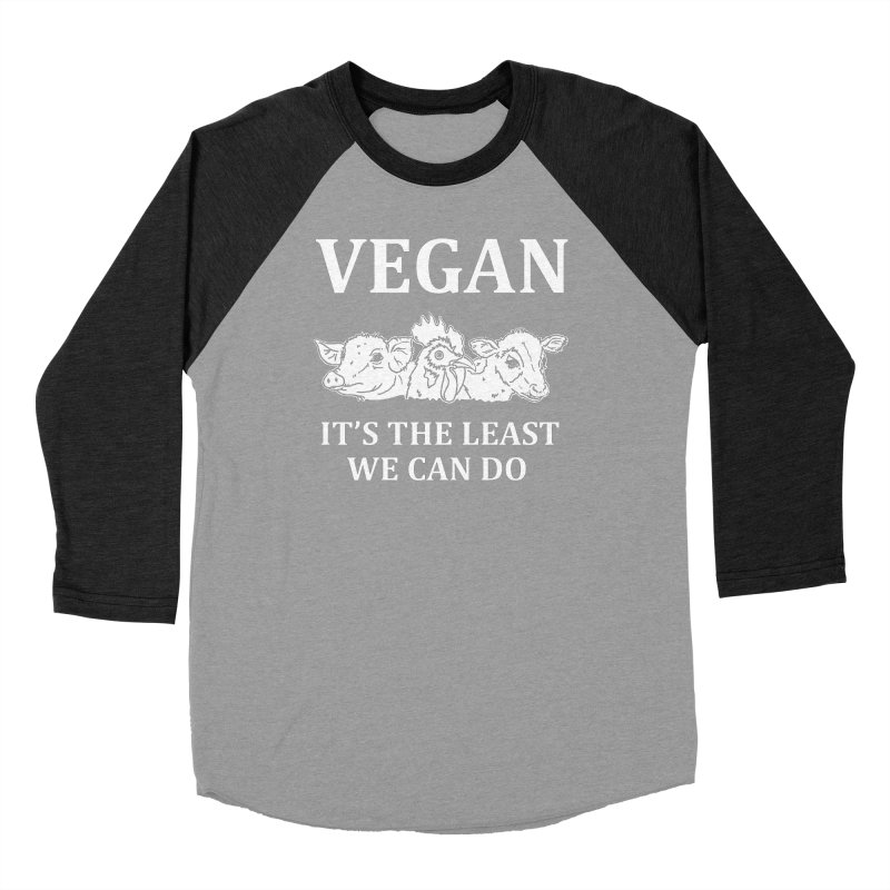VEGAN IT'S THE LEAST WE CAN DO [Style 8] (White Font) Men's Baseball Triblend Longsleeve T-Shirt by That Vegan Couple's Shop