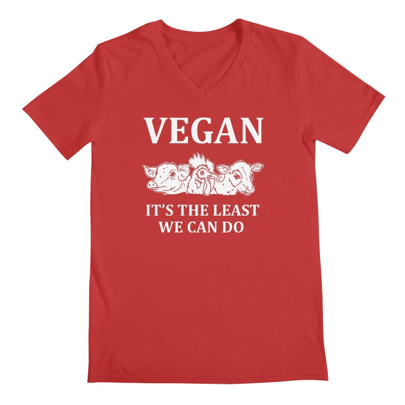 VEGAN IT'S THE LEAST WE CAN DO [Style 8] (White Font) Men's Regular V-Neck by That Vegan Couple's Shop
