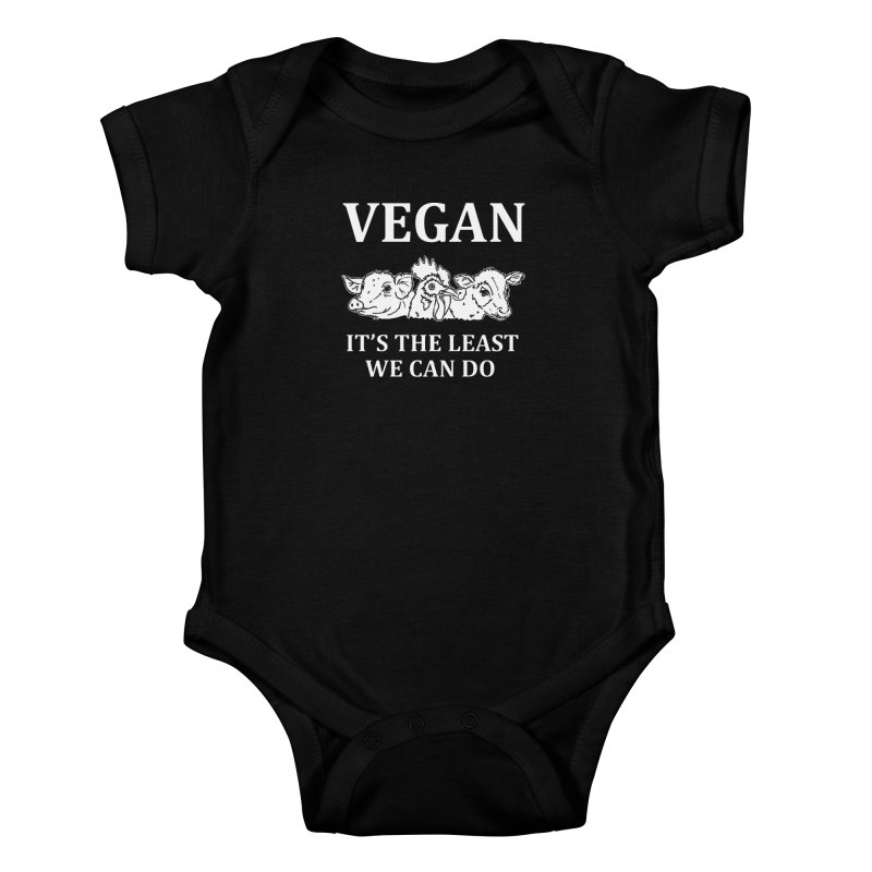 VEGAN IT'S THE LEAST WE CAN DO [Style 8] (White Font) Kids Baby Bodysuit by That Vegan Couple's Shop