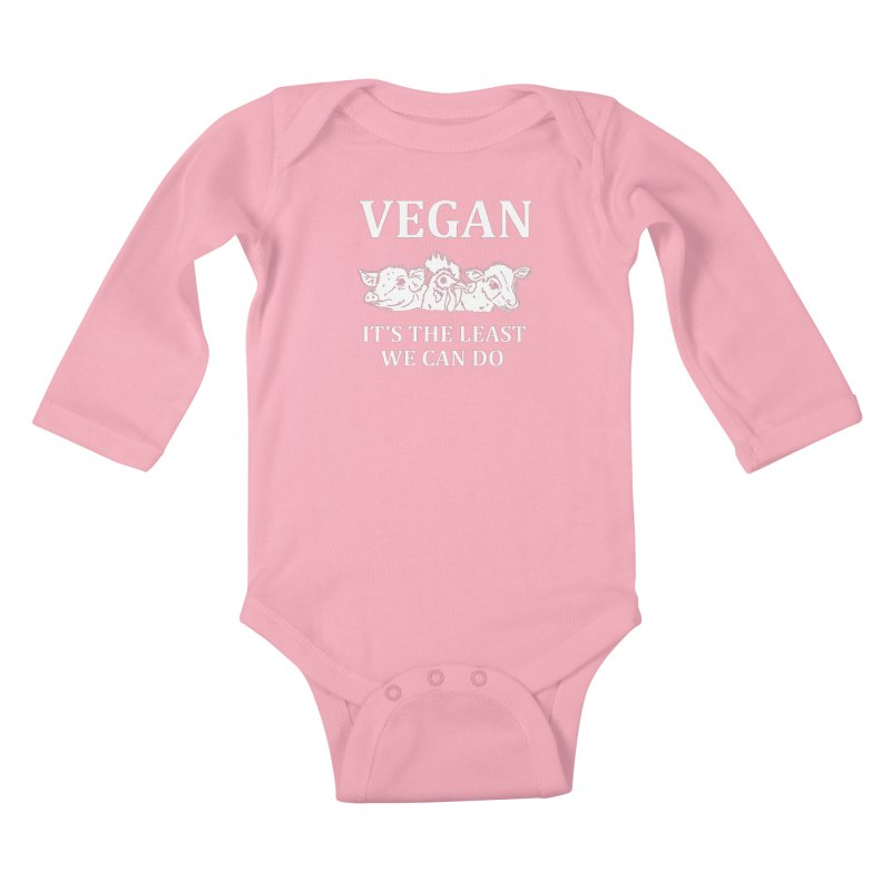 VEGAN IT'S THE LEAST WE CAN DO [Style 8] (White Font) Kids Baby Longsleeve Bodysuit by That Vegan Couple's Shop
