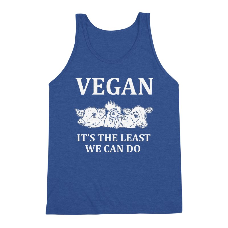 VEGAN IT'S THE LEAST WE CAN DO [Style 8] (White Font) Men's Tank by That Vegan Couple's Shop
