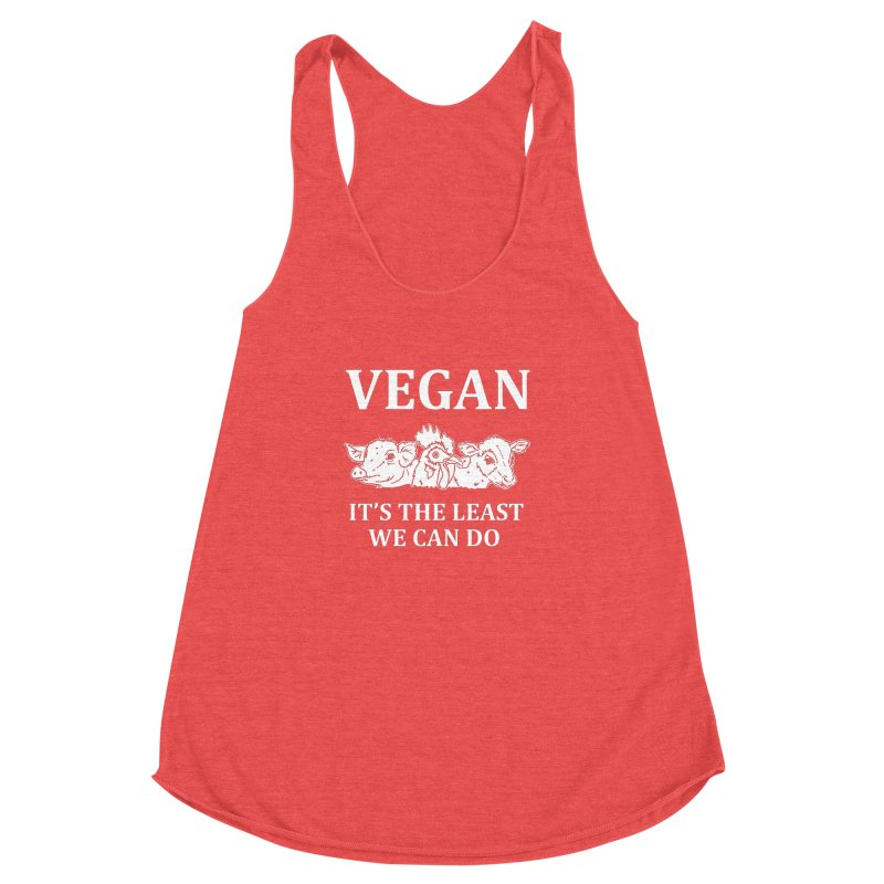 VEGAN IT'S THE LEAST WE CAN DO [Style 8] (White Font) Women's Racerback Triblend Tank by That Vegan Couple's Shop