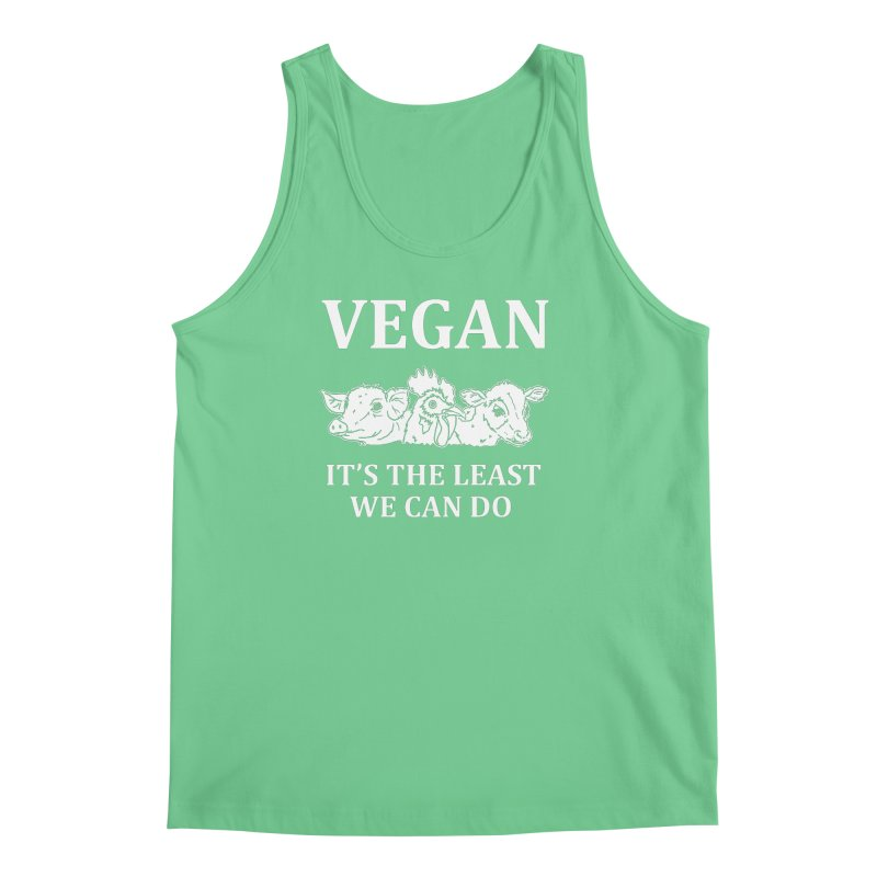 VEGAN IT'S THE LEAST WE CAN DO [Style 8] (White Font) Men's Regular Tank by That Vegan Couple's Shop