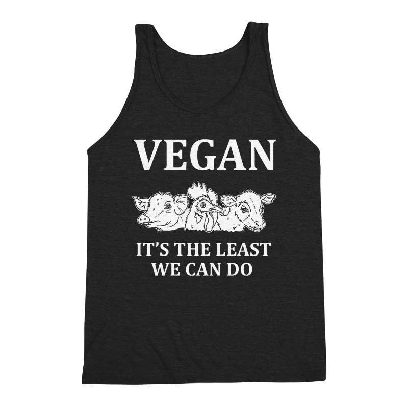 VEGAN IT'S THE LEAST WE CAN DO [Style 8] (White Font) Men's Triblend Tank by That Vegan Couple's Shop