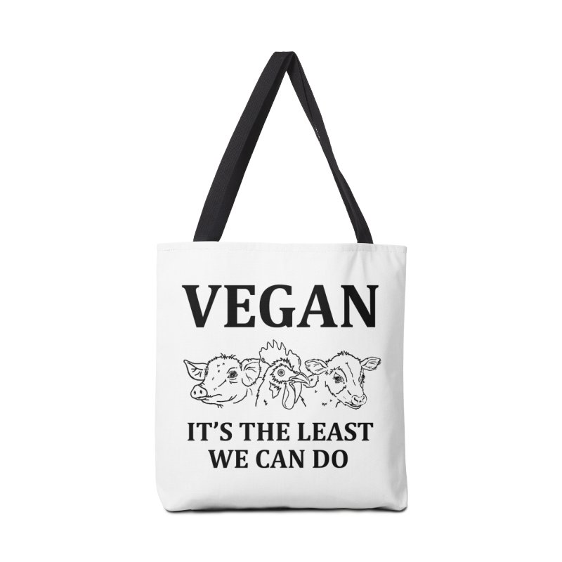 VEGAN IT'S THE LEAST WE CAN DO [Style 7] (Black Font) Accessories Tote Bag Bag by That Vegan Couple's Shop