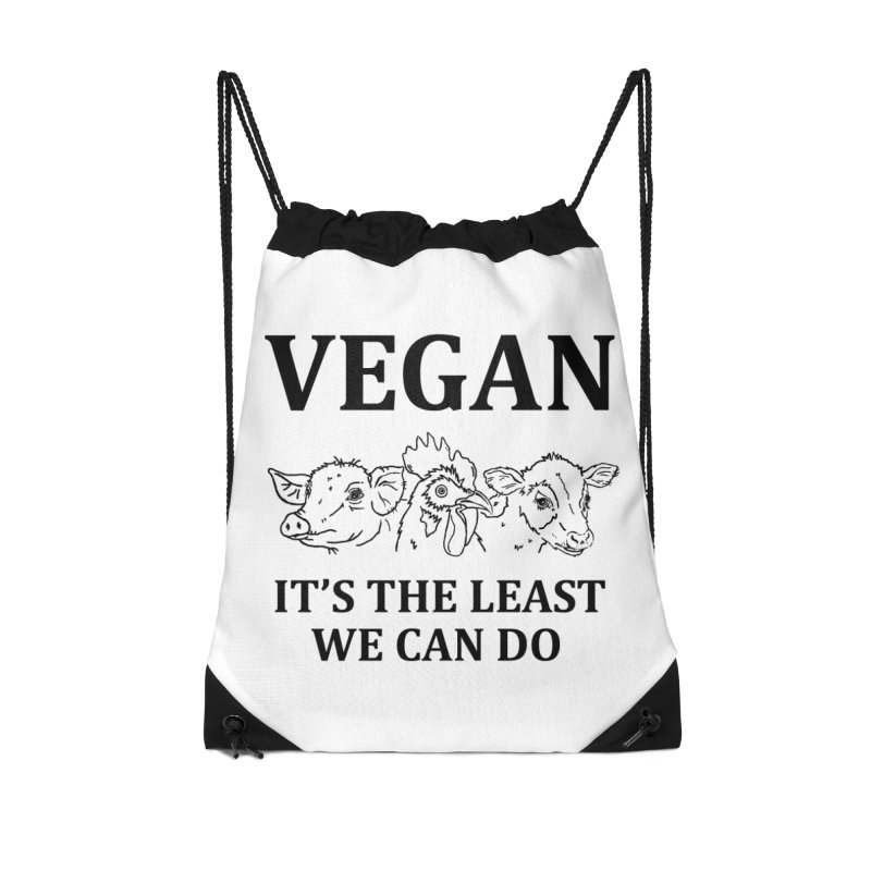 VEGAN IT'S THE LEAST WE CAN DO [Style 7] (Black Font) Accessories Drawstring Bag Bag by That Vegan Couple's Shop