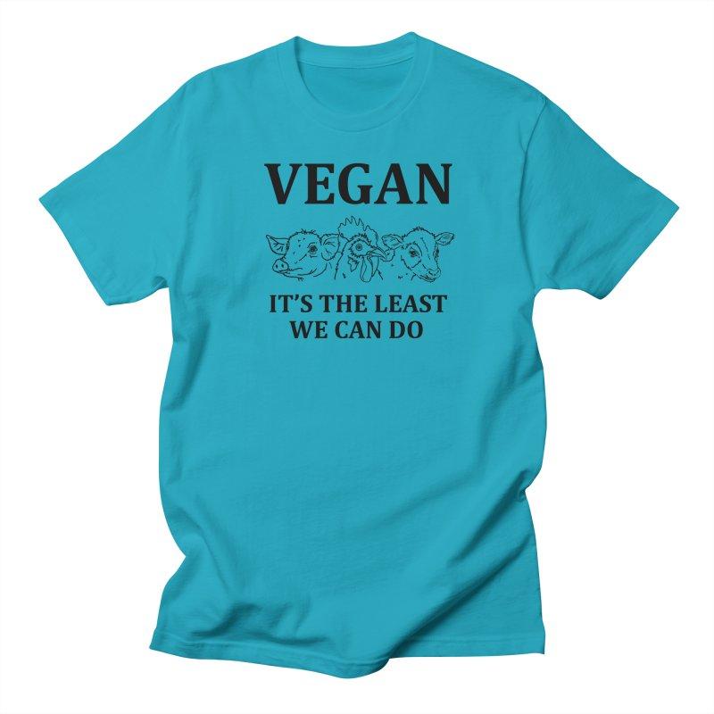 VEGAN IT'S THE LEAST WE CAN DO [Style 7] (Black Font) Men's Regular T-Shirt by That Vegan Couple's Shop
