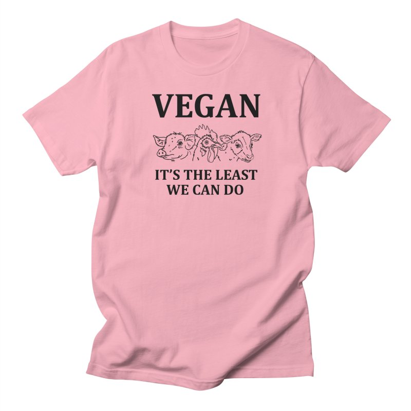 VEGAN IT'S THE LEAST WE CAN DO [Style 7] (Black Font) Men's Regular T-Shirt by That Vegan Couple's Shop