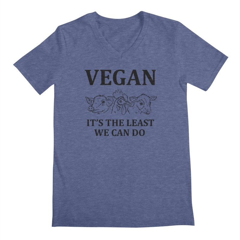 VEGAN IT'S THE LEAST WE CAN DO [Style 7] (Black Font) Men's Regular V-Neck by That Vegan Couple's Shop
