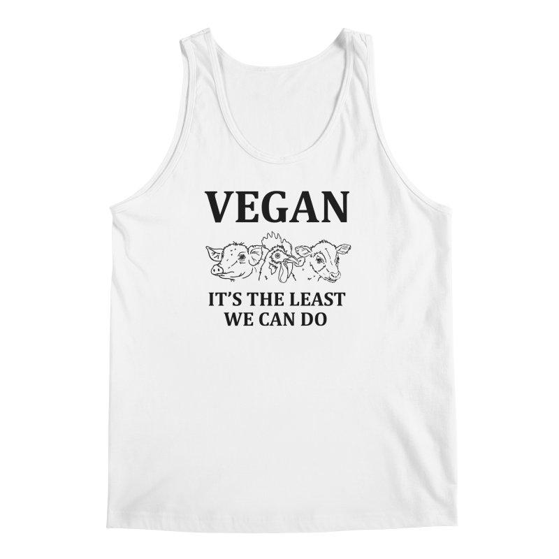 VEGAN IT'S THE LEAST WE CAN DO [Style 7] (Black Font) Men's Regular Tank by That Vegan Couple's Shop