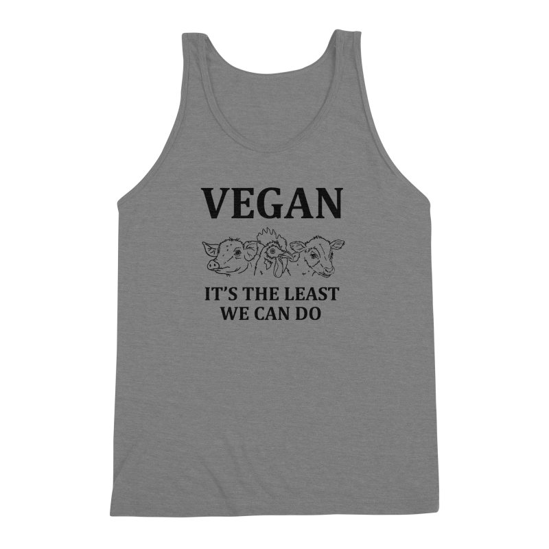 VEGAN IT'S THE LEAST WE CAN DO [Style 7] (Black Font) Men's Triblend Tank by That Vegan Couple's Shop