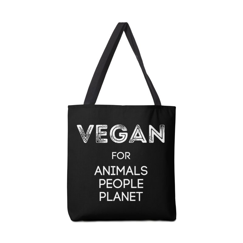 VEGAN FOR ANIMALS PEOPLE PLANET [Style 5] (White Font) Accessories Tote Bag Bag by That Vegan Couple's Shop