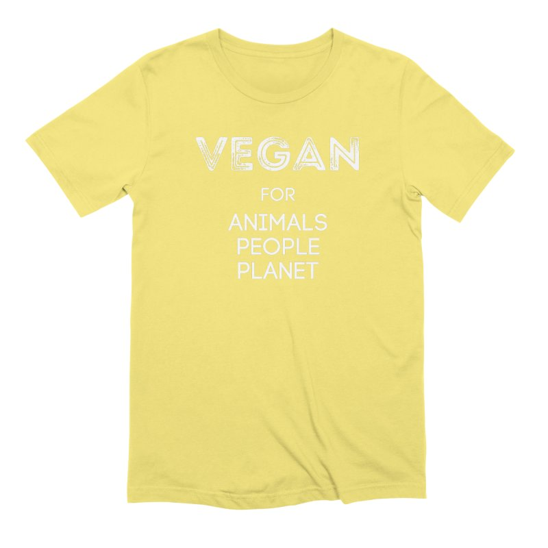 VEGAN FOR ANIMALS PEOPLE PLANET [Style 5] (White Font) Men's Extra Soft T-Shirt by That Vegan Couple's Shop