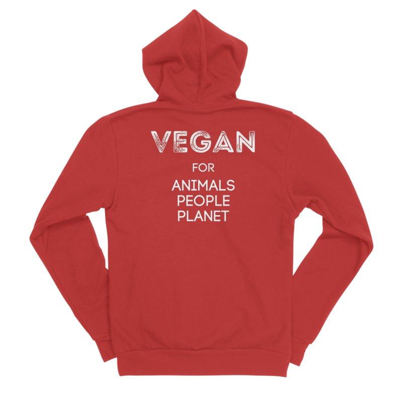 VEGAN FOR ANIMALS PEOPLE PLANET [Style 5] (White Font) Men's Sponge Fleece Zip-Up Hoody by That Vegan Couple's Shop