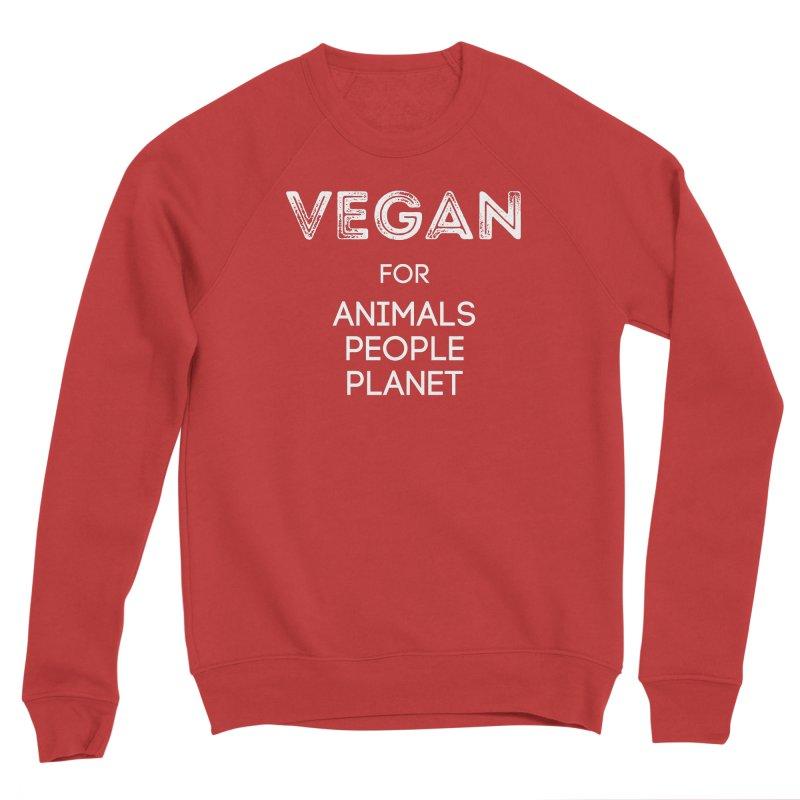VEGAN FOR ANIMALS PEOPLE PLANET [Style 5] (White Font) Men's Sponge Fleece Sweatshirt by That Vegan Couple's Shop