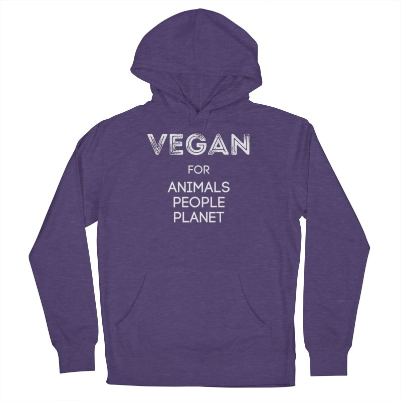 VEGAN FOR ANIMALS PEOPLE PLANET [Style 5] (White Font) Men's French Terry Pullover Hoody by That Vegan Couple's Shop