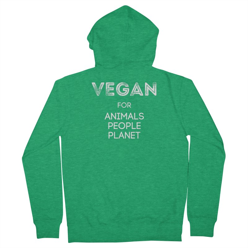 VEGAN FOR ANIMALS PEOPLE PLANET [Style 5] (White Font) Men's Zip-Up Hoody by That Vegan Couple's Shop