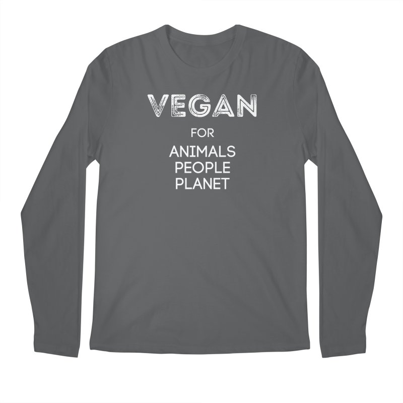 VEGAN FOR ANIMALS PEOPLE PLANET [Style 5] (White Font) Men's Regular Longsleeve T-Shirt by That Vegan Couple's Shop