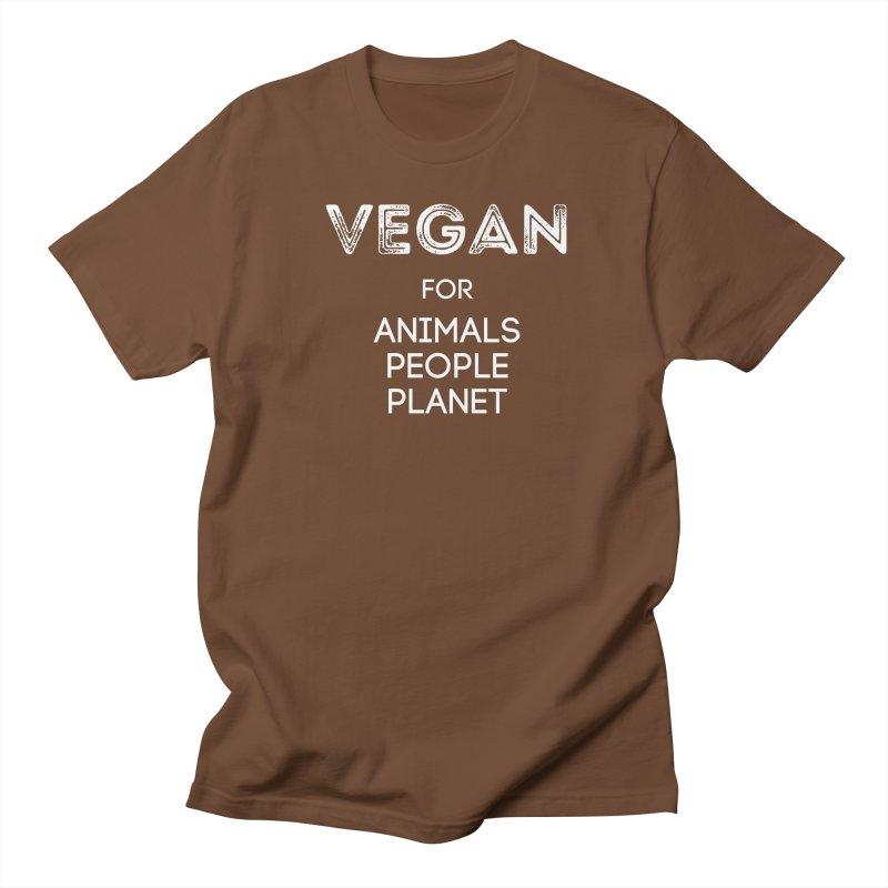 VEGAN FOR ANIMALS PEOPLE PLANET [Style 5] (White Font) Men's Regular T-Shirt by That Vegan Couple's Shop