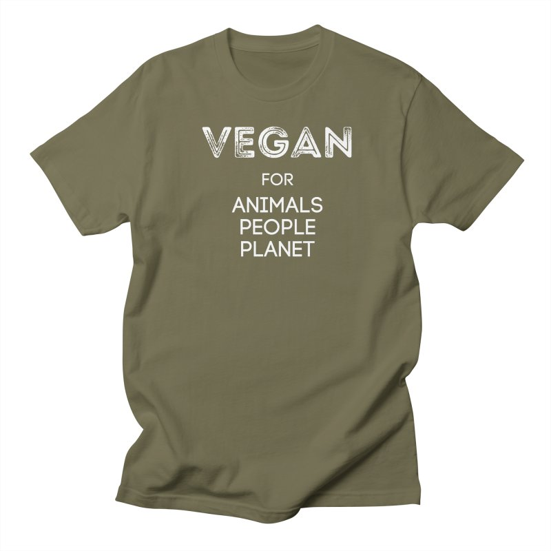 VEGAN FOR ANIMALS PEOPLE PLANET [Style 5] (White Font) Women's Regular Unisex T-Shirt by That Vegan Couple's Shop
