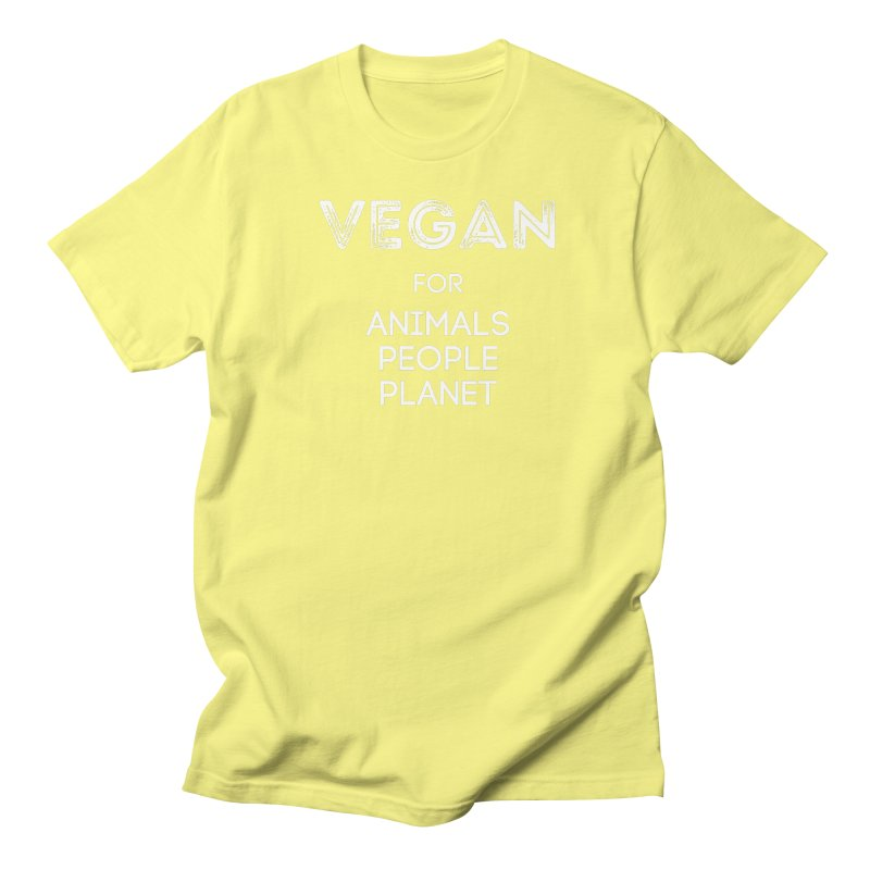 VEGAN FOR ANIMALS PEOPLE PLANET [Style 5] (White Font) Men's T-Shirt by That Vegan Couple's Shop