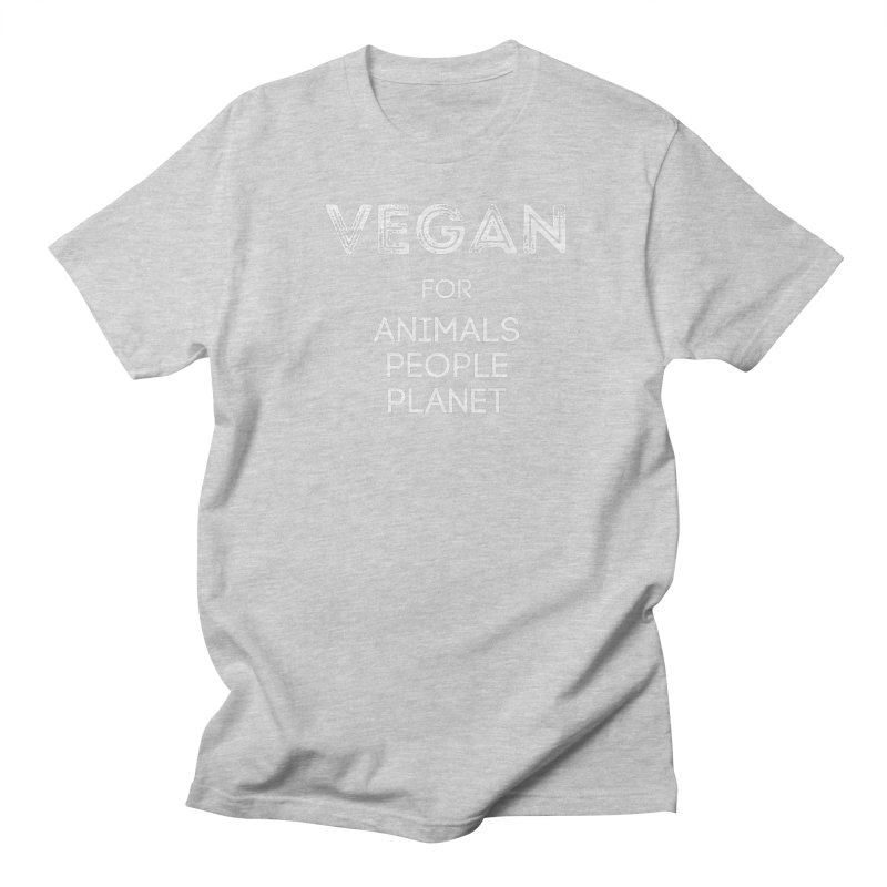 VEGAN FOR ANIMALS PEOPLE PLANET [Style 5] (White Font) Men's Regular T-Shirt by That Vegan Couple's Shop