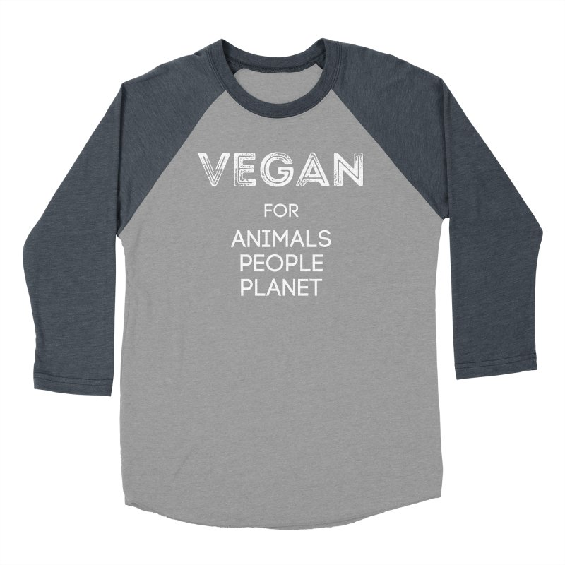 VEGAN FOR ANIMALS PEOPLE PLANET [Style 5] (White Font) Men's Baseball Triblend Longsleeve T-Shirt by That Vegan Couple's Shop