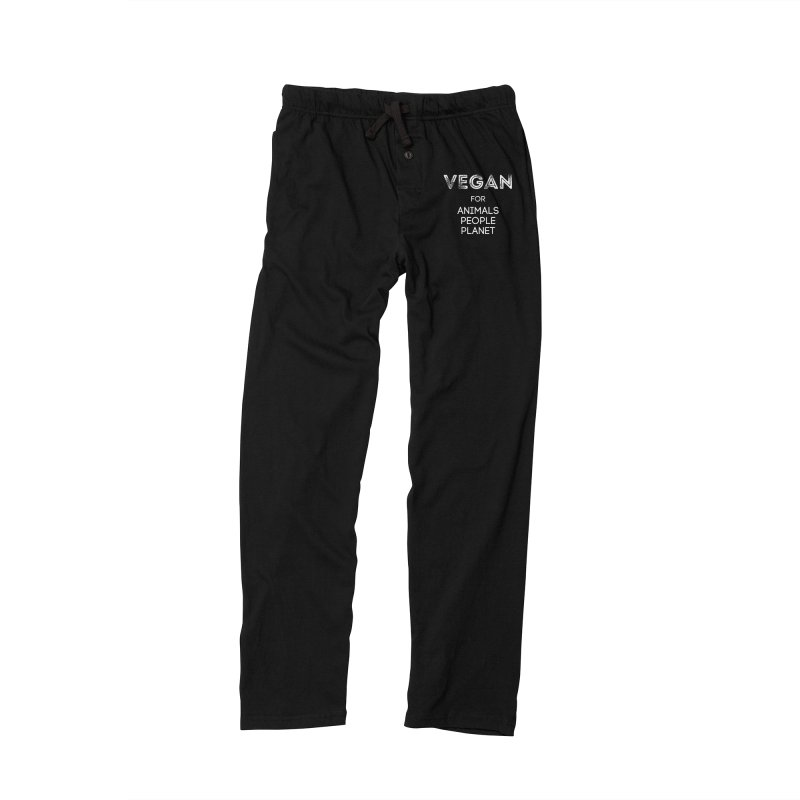 VEGAN FOR ANIMALS PEOPLE PLANET [Style 5] (White Font) Women's Lounge Pants by That Vegan Couple's Shop