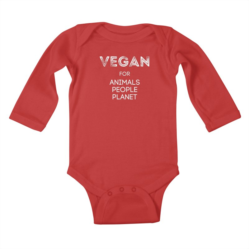 VEGAN FOR ANIMALS PEOPLE PLANET [Style 5] (White Font) Kids Baby Longsleeve Bodysuit by That Vegan Couple's Shop