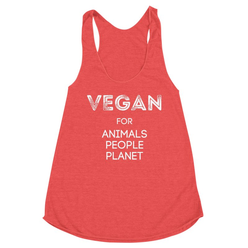 VEGAN FOR ANIMALS PEOPLE PLANET [Style 5] (White Font) Women's Tank by That Vegan Couple's Shop