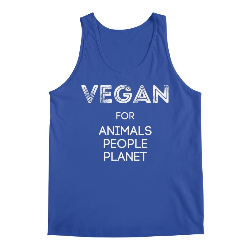 VEGAN FOR ANIMALS PEOPLE PLANET [Style 5] (White Font) Men's Regular Tank by That Vegan Couple's Shop
