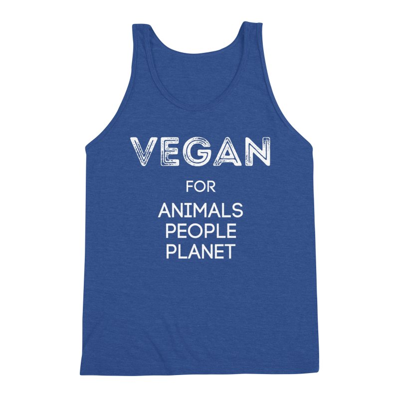 VEGAN FOR ANIMALS PEOPLE PLANET [Style 5] (White Font) Men's Triblend Tank by That Vegan Couple's Shop