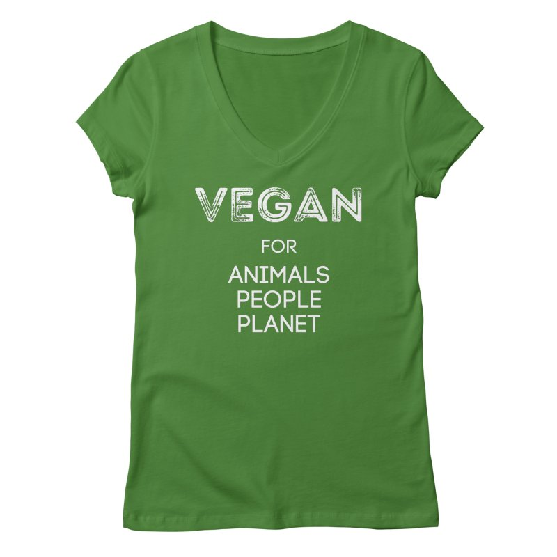 VEGAN FOR ANIMALS PEOPLE PLANET [Style 5] (White Font) Women's Regular V-Neck by That Vegan Couple's Shop