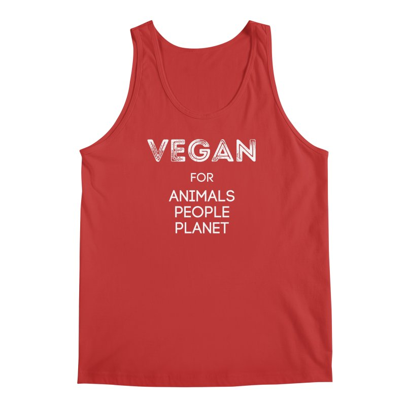VEGAN FOR ANIMALS PEOPLE PLANET [Style 5] (White Font) Men's Regular Tank by That Vegan Couple's Shop