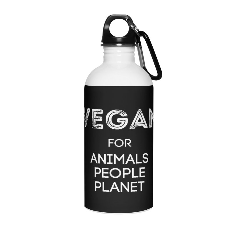 VEGAN FOR ANIMALS PEOPLE PLANET [Style 5] (White Font) Accessories Water Bottle by That Vegan Couple's Shop