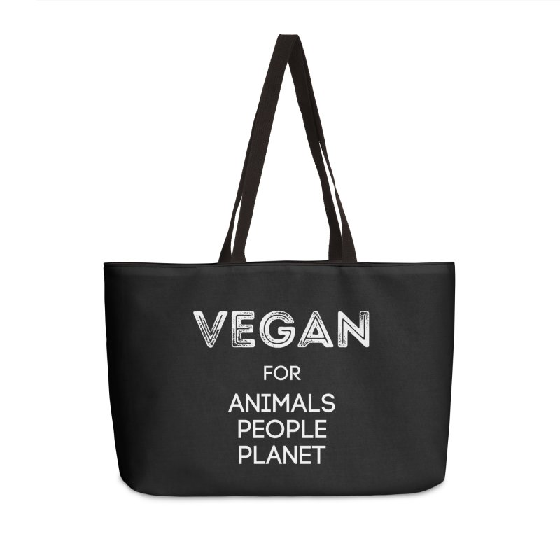 VEGAN FOR ANIMALS PEOPLE PLANET [Style 5] (White Font) Accessories Weekender Bag Bag by That Vegan Couple's Shop