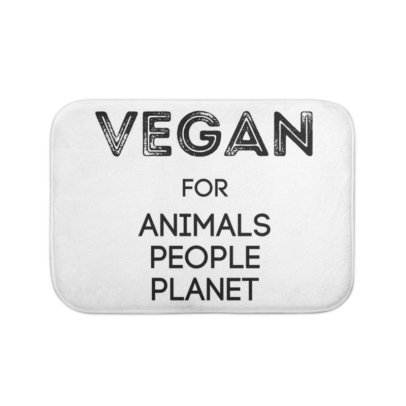 VEGAN FOR ANIMALS PEOPLE PLANET [Style 5] (Black Font) Home Bath Mat by That Vegan Couple's Shop
