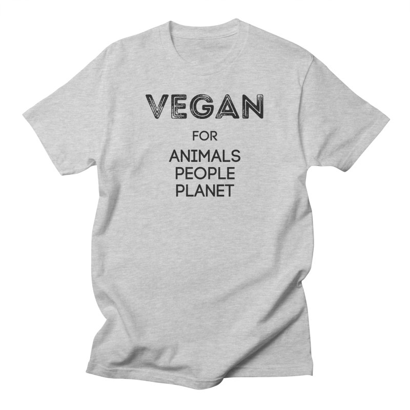 VEGAN FOR ANIMALS PEOPLE PLANET [Style 5] (Black Font) Men's T-Shirt by That Vegan Couple's Shop