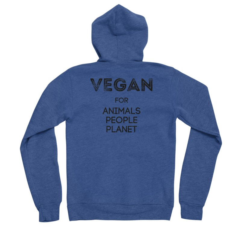 VEGAN FOR ANIMALS PEOPLE PLANET [Style 5] (Black Font) Men's Sponge Fleece Zip-Up Hoody by That Vegan Couple's Shop