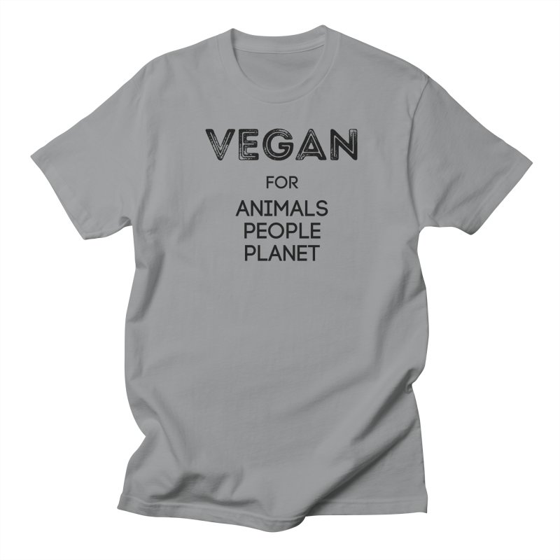 VEGAN FOR ANIMALS PEOPLE PLANET [Style 5] (Black Font) Men's Regular T-Shirt by That Vegan Couple's Shop