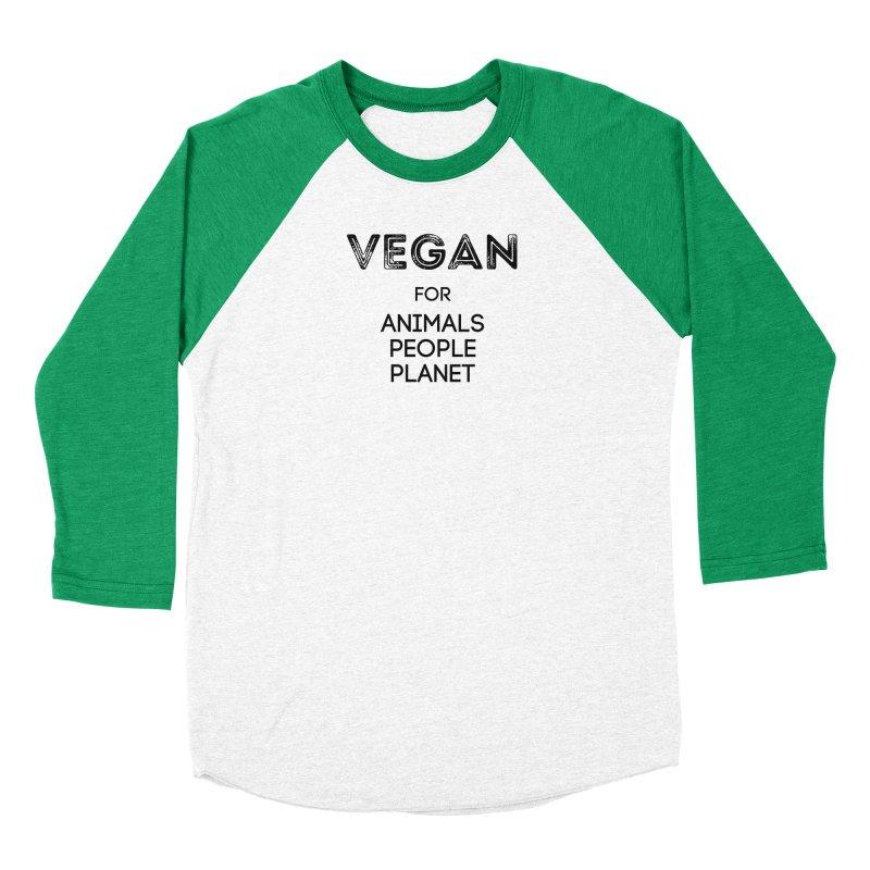 VEGAN FOR ANIMALS PEOPLE PLANET [Style 5] (Black Font) Men's Baseball Triblend Longsleeve T-Shirt by That Vegan Couple's Shop
