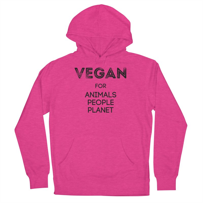 VEGAN FOR ANIMALS PEOPLE PLANET [Style 5] (Black Font) Men's French Terry Pullover Hoody by That Vegan Couple's Shop