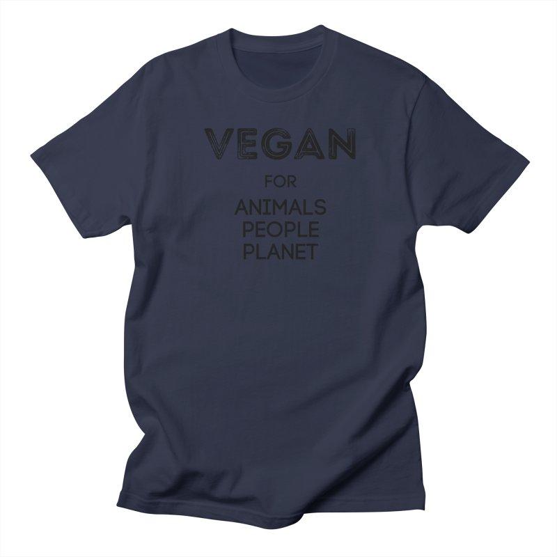 VEGAN FOR ANIMALS PEOPLE PLANET [Style 5] (Black Font) Women's T-Shirt by That Vegan Couple's Shop