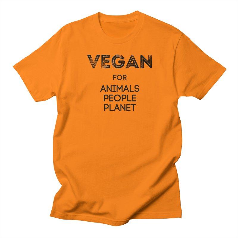 VEGAN FOR ANIMALS PEOPLE PLANET [Style 5] (Black Font) Men's Regular T-Shirt by That Vegan Couple's Shop