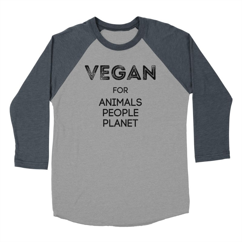 VEGAN FOR ANIMALS PEOPLE PLANET [Style 5] (Black Font) Women's Baseball Triblend Longsleeve T-Shirt by That Vegan Couple's Shop