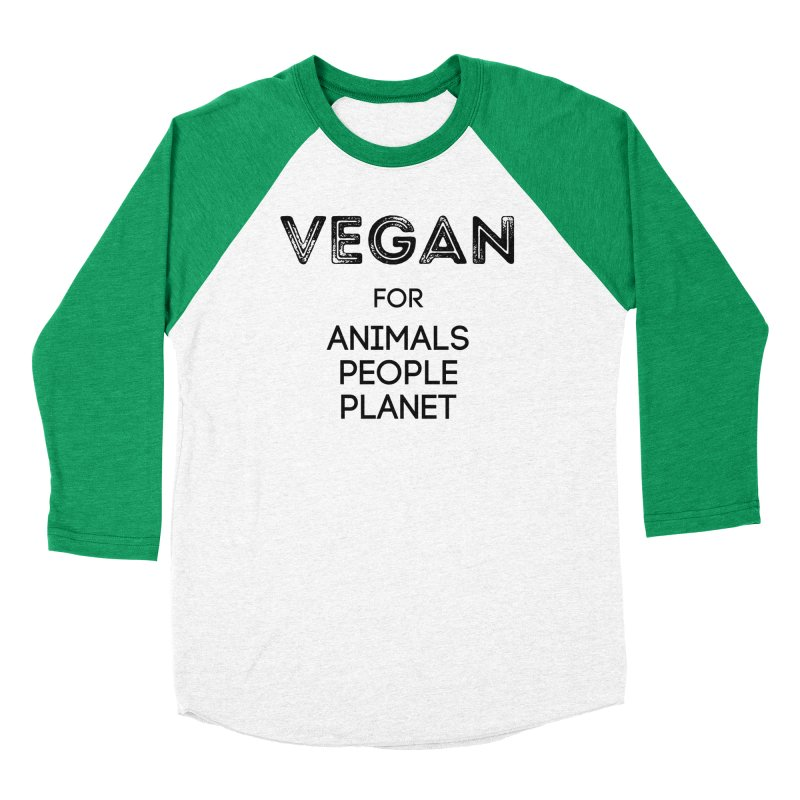 VEGAN FOR ANIMALS PEOPLE PLANET [Style 5] (Black Font) Men's Baseball Triblend Longsleeve T-Shirt by That Vegan Couple's Shop