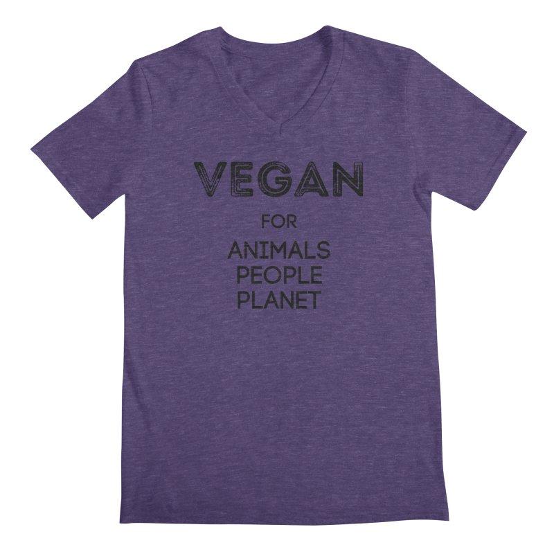 VEGAN FOR ANIMALS PEOPLE PLANET [Style 5] (Black Font) Men's Regular V-Neck by That Vegan Couple's Shop