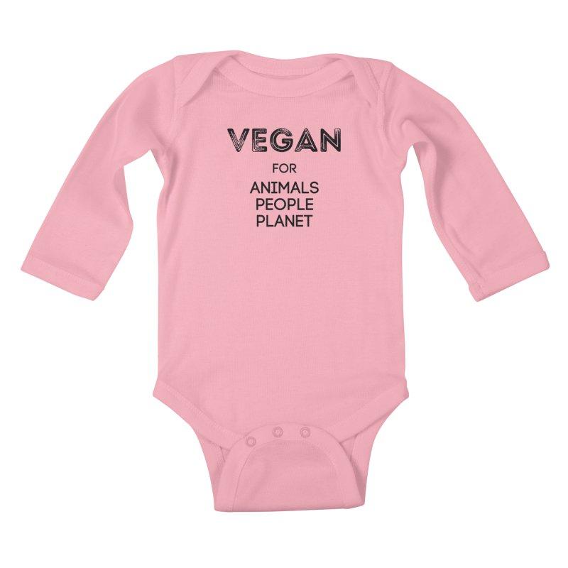 VEGAN FOR ANIMALS PEOPLE PLANET [Style 5] (Black Font) Kids Baby Longsleeve Bodysuit by That Vegan Couple's Shop