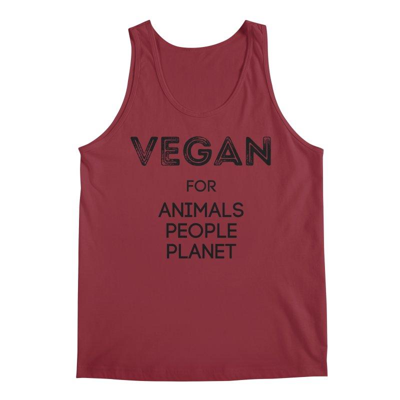VEGAN FOR ANIMALS PEOPLE PLANET [Style 5] (Black Font) Men's Tank by That Vegan Couple's Shop