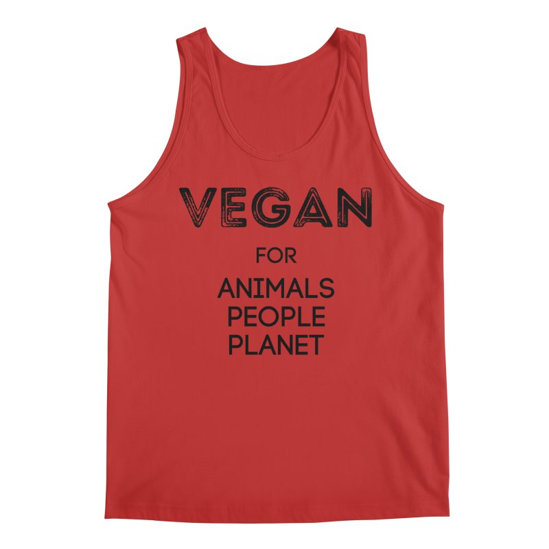 VEGAN FOR ANIMALS PEOPLE PLANET [Style 5] (Black Font) Men's Regular Tank by That Vegan Couple's Shop